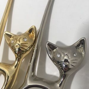 Jewelry - Vintage Metal Cat Rhinestone Eyes Tail Ring Holder